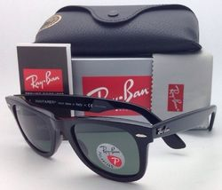 New Ray-Ban Polarized Sunglasses RB 2140 901/58 54-18 WAYFARER Black Frame/Green image 3