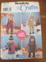 """VTG SIMPLICITY #5676 PATTERN, 18"""" DOLL CLOTHES, AMERICAN GIRL, UNCUT & C... - $4.74"""