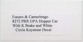 Funaro F&C PRR GPA hopper w/ K brake, White circle keystone decal kit 8272 image 3