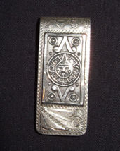 Men's MONEY CLIP Vintage Aztec Design in Sterling Silver - MEXICO - 23 g... - $85.00