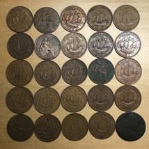 Lot of 25 British Half Pennies (Lot 248) - $12.95