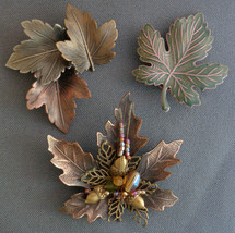 3 Piece Lot Fall Autumn Leaf Pins Brooch Maple Enamel Beads Designer Signed - $16.99