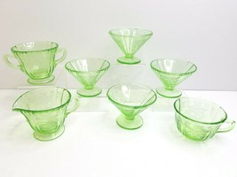 7 Federal Madrid Green Depression MCM Cone Shaped Foot Sherbet Cup Cream... - $59.07
