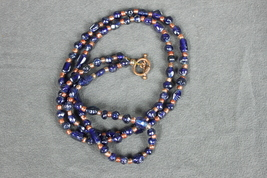 Long Beaded Necklace Indigo Blues with Copper Color Spacers - $15.00