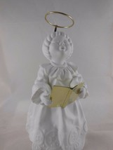"DEPT. 56 White porcelain Singing Angel With Brass Book and  Halo 6 3/4"" - $12.59"