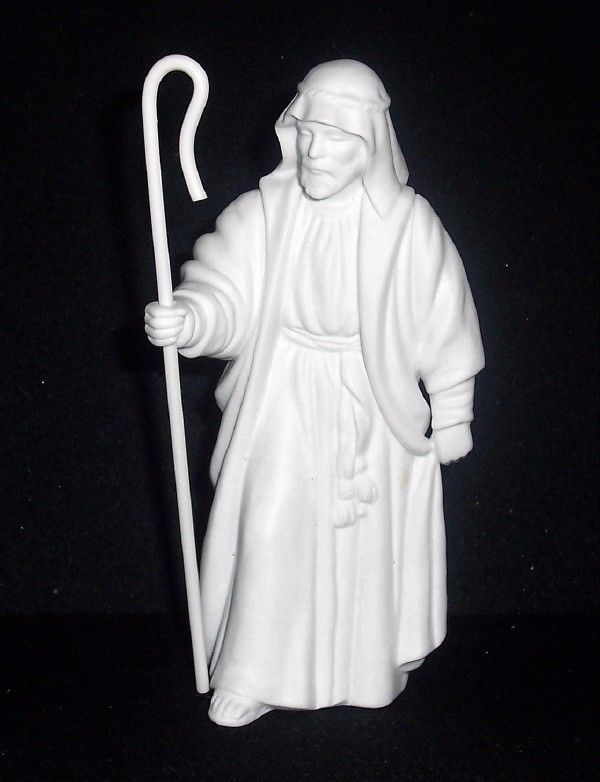 Primary image for Avon Nativity White Porcelain Collectible SHEPHERD W/Staff Figure