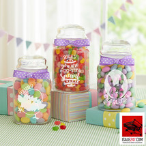 Personalized Easter Glass Treat Jar - Available in 3 Designs, With or Wi... - $40.36