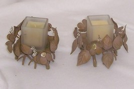 PartyLite Golden Leaves Candle Holder Pair with Square Glass Votive Hold... - $11.83