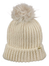 NEW! D&Y Chunky Knit Cuffed Style Beanie with Faux Fur Pom Finish Skull Cap - $13.99