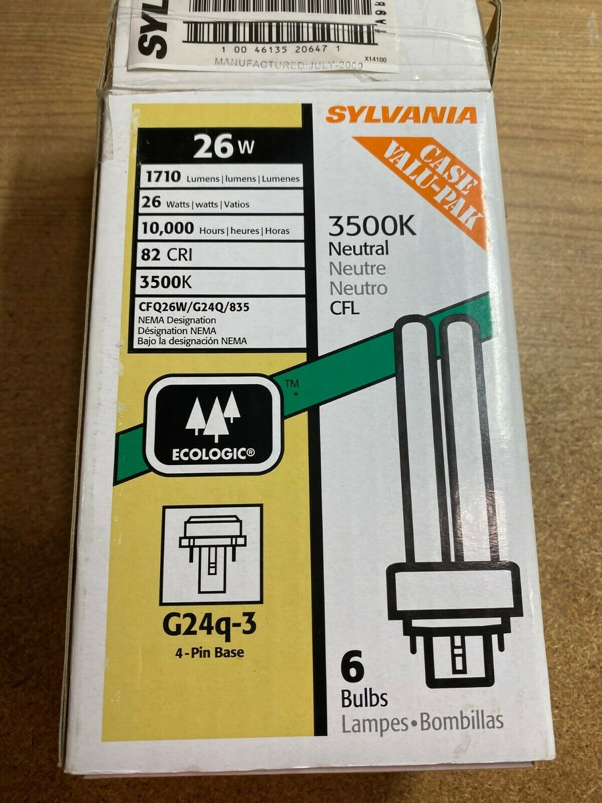 Primary image for Lot Of 5 Sylvania 26W CFL 4-pin G24q-3 Base Bulb 2-Tubes 3500k Neutral