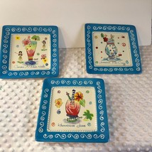 """Oumsby Ormbsy Square Salad Plate 8.25"""" Set of 3 Jamaican Me Crazy Hurric... - $32.71"""