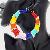 Colorful Gold Round Bamboo Textured Cute DoorKnocker 3.5 Inches Hoop Ear... - $20.79