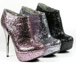 Glitter High Stiletto Heel Platform Ankle Bootie Boot Qupid Neutral-237 - $14.99