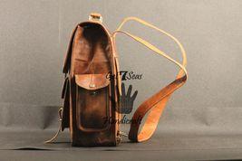 Real genuine men's leather backpack bag laptop satchel briefcase men vintage image 4