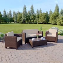 Outdoor Rattan Wicker Sofa Garden Coffee Seating Armchairs Set Cushioned Brown image 3