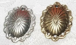 OVAL SHIELD ONE TO THREE HOLE FINE PEWTER EARRING PART 16x21x3mm; Hole 1.5mm image 2