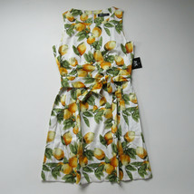 NWT Anne Klein Chelsea in Yellow Lemon Print Cotton Belted Fit & Flare D... - $32.00