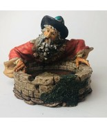 Gazing WIZARD Resin Sculpture Figure Reflection Fantasy Dragon Magic 199... - $26.99