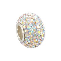 Sterling Silver Rondel Crystal AB Aurora Borealis Bead Fits All Bead Bracelets - $16.82