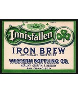 Vintage soda pop bottle label INNISFALLEN IRON BREW San Francisco Califo... - $7.99