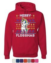 Merry Flossmas Flossing Unicorn Hoodie Christmas Ugly Sweater Sweatshirt - $29.21+