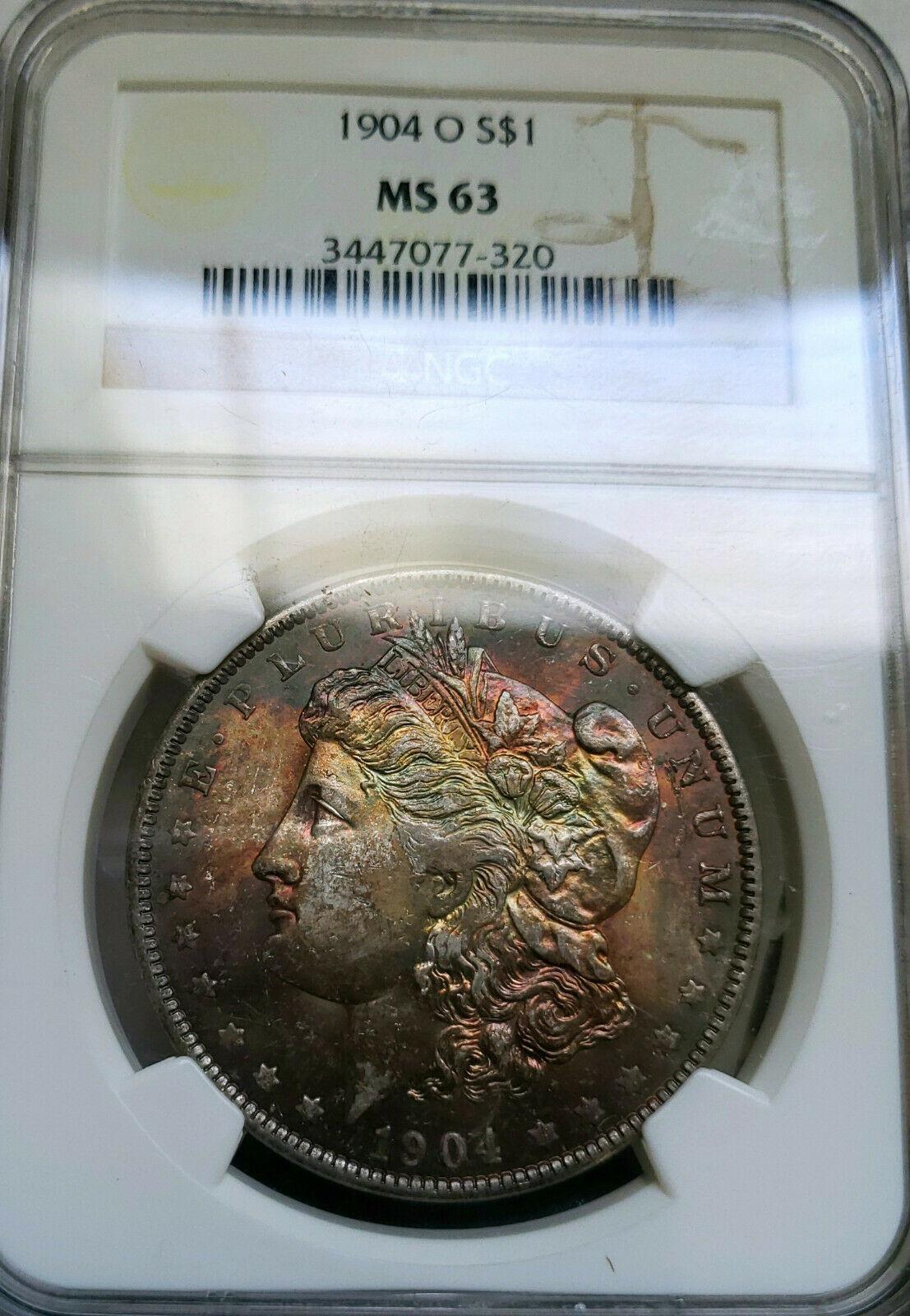 ~☆DARK RAINBOW☆~ 1904-O MS-63 Morgan Silver Dollar NGC GORGEOUS COIN!