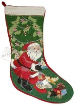 Sferra Needlepoint Christmas Stocking SANTA AT TREE WITH TOYS New with TAG - $98.99