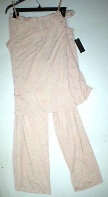 NWT New Designer Natori Pajamas Pink Tan Beige Womens PJ M Cami Pants Top Set image 2
