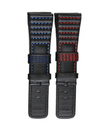 28mm Black Leather Replacement Watch Band Strap Made For Seven Friday Wa... - $39.99