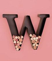 "Personalized Letter ""W"" Metal Wall Wine Cork Holder - Monogram Wall Art - $12.79"