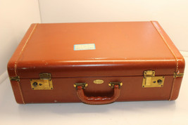 "MAXIMILLION NEW YORK BROWN LEATHER HYDE HARD SHELL STITCHED 21"" SUITCASE - $49.99"
