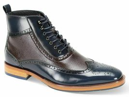 Two Tone Blue Brown Ankle High Lace Up Magnificent Men's Leather Laceup ... - $169.99+