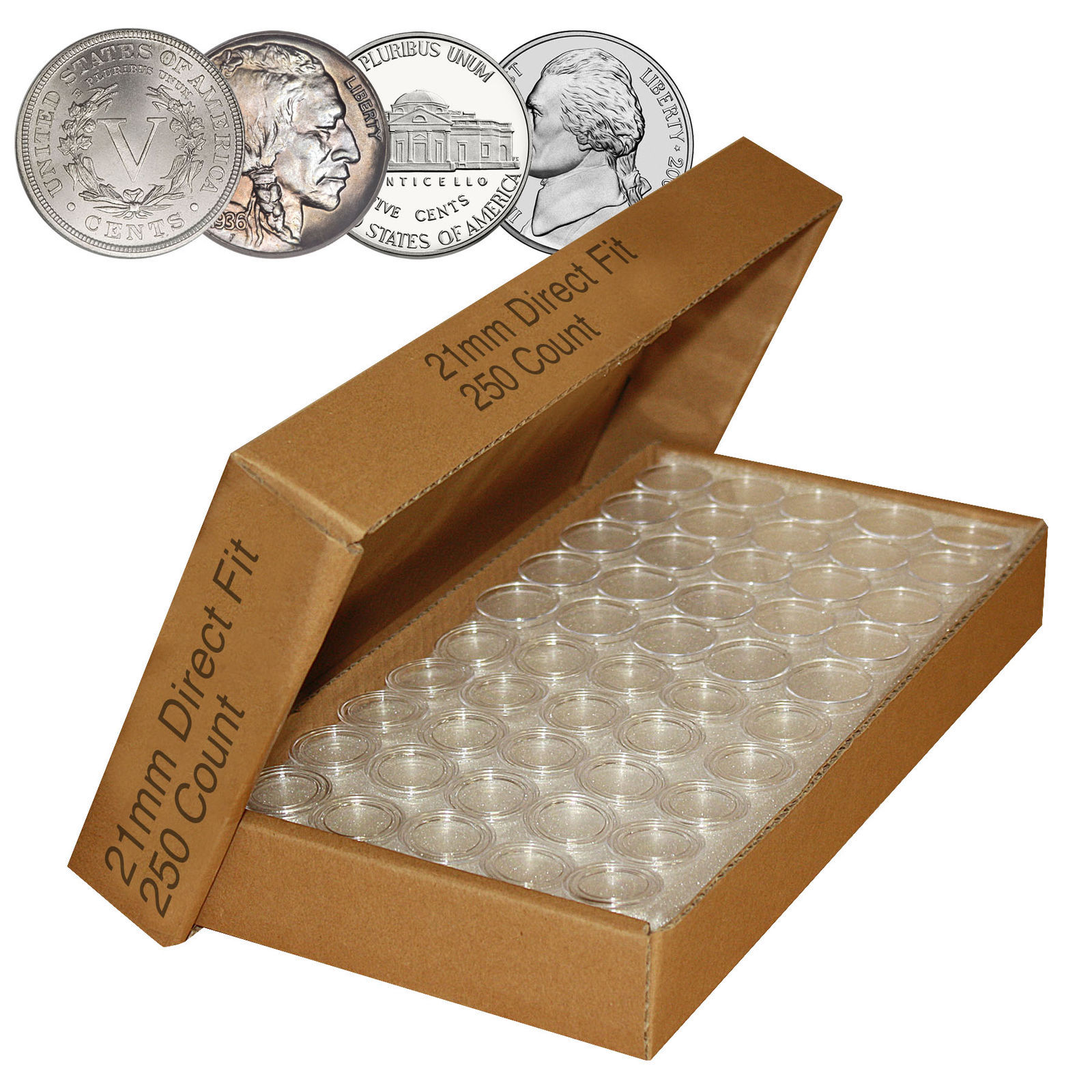Primary image for Direct-Fit Airtight 21mm Coin Capsule Holders For NICKELS (QTY: 250)