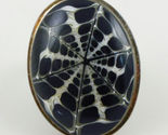 Black and White Spider Web Natural Obsidian Volcanic Glass RING - Size 5