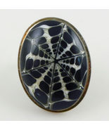 Black and White Spider Web Natural Obsidian Volcanic Glass RING - Size 5  - $95.00