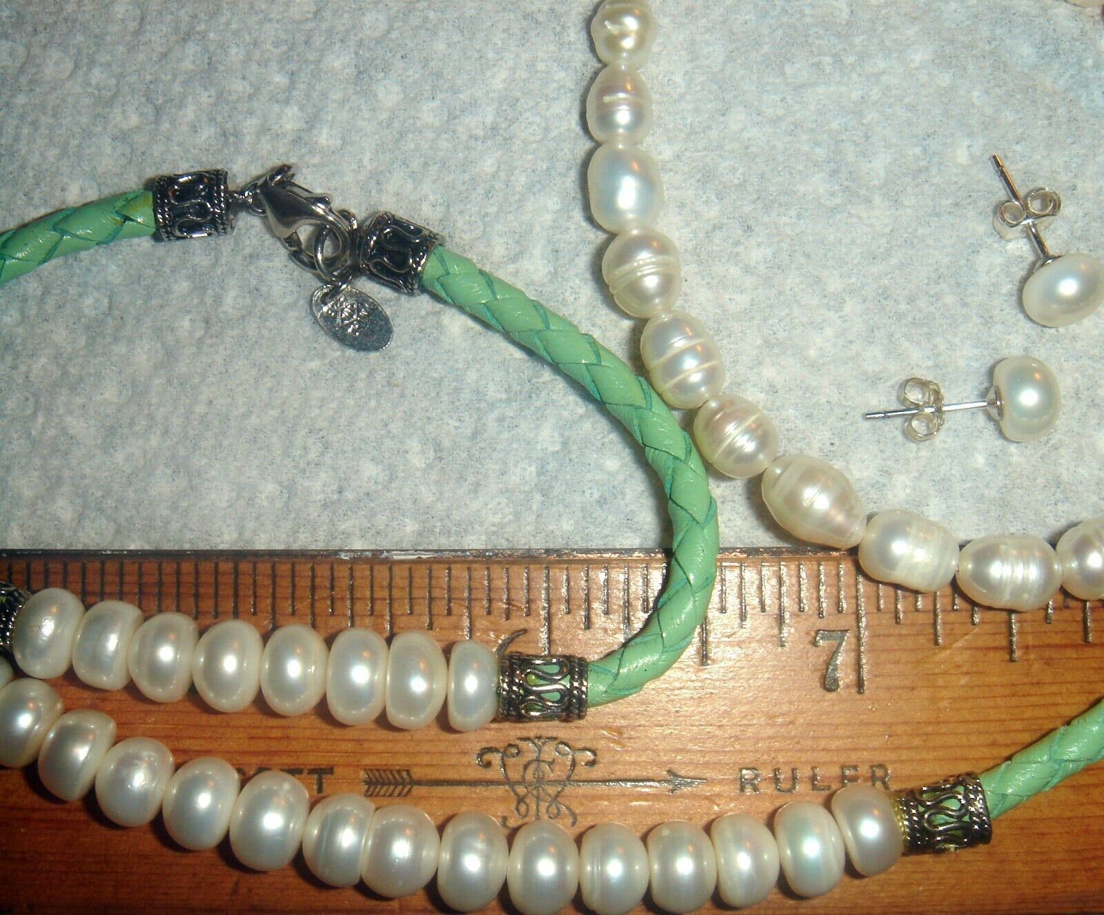 VTG 925 STERLING SILVER GREEN PINK LEATHER PEARL NECKLACE BRACELET EARRING LOT