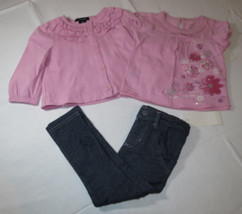 Calvin Klein baby girls 3 PC dress leggings Pink & denim 24M 3703091-99 ... - $23.75