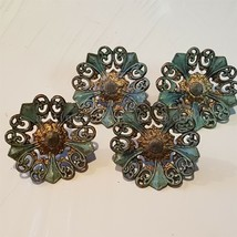 LOT antique victorian CURTAIN PUSH PIN TIE BACK TACKS 4pc ORNATE blue brass - $64.95