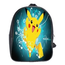 Backpack School Bag Pikachu Pokemon Funny Animation Movie In Blue Dark Backgroun - $33.00