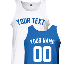 Custom New York Yankees Block Baseball Tank Top T-Shirt - Front & Back C01 - $17.15+