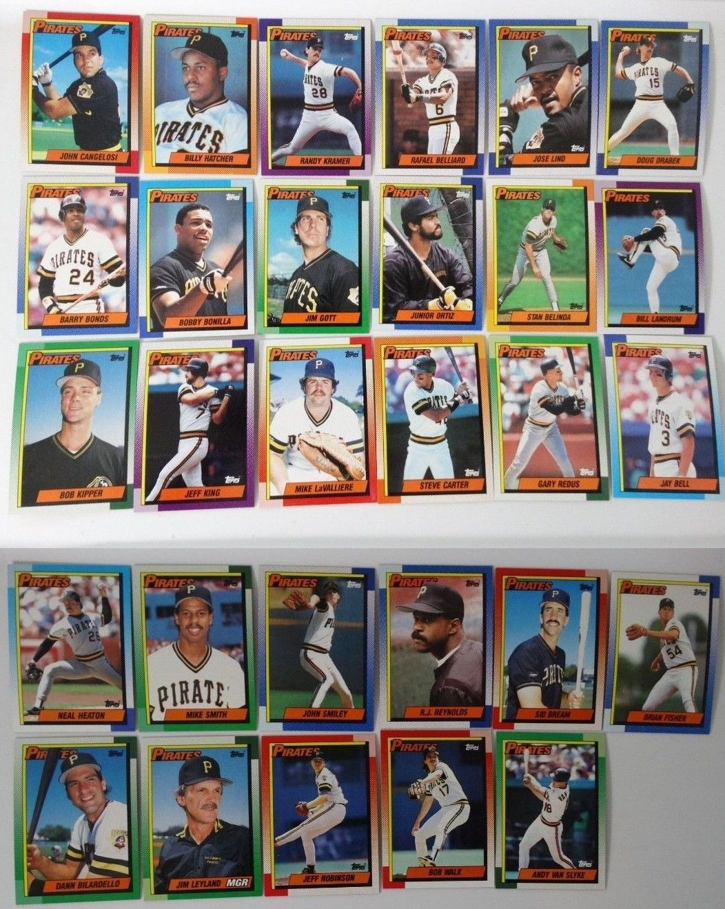 1990 Topps Pittsburgh Pirates Team Set of 29 Baseball Cards