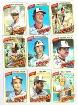 1980 TOPPS BASEBALL 9 CARD ORIOLES LOT - $0.99