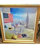 MAGNIFICENT RARE FRAMED LRG DELUXE PAINTING BY ORLANDO EMPIRE STATE BUIL... - $10,890.00
