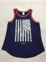 NWT VICTORIA/'S SECRET PINK GRAY AMERICANA BLING SEQUIN LOGO RACERBACK TANK TOP