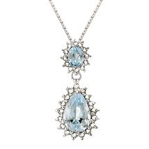 Jewelry Silver-Tone CZ Double Round Teardrop Pendant Chain Necklace for W - $90.28