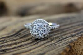 Solid 10k White Gold Halo Design White Diamond Round Cut Womens Anniversary Ring - $269.99
