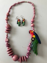 """Handmade South American Necklace Beads and Parrot -29"""" /Matching Earrings - $26.65"""
