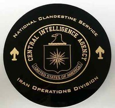 "CIA NCS IOD Iran Ops Div 5"" X 1/4"" Thick Black Polished Acrylic w Gold P... - $44.54"
