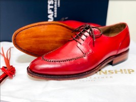 Handmade Men's Red Leather Lace Up Oxford Dress/Formal Shoes image 2
