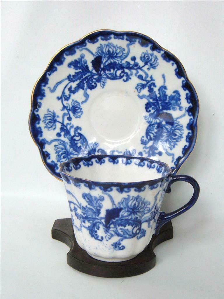 Primary image for Flow Blue Tea Cup and Saucer Chrysanthemum R H Plant Staffordshire England
